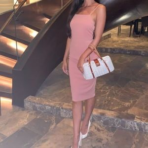 Mauve pink strappy caged back midi dress